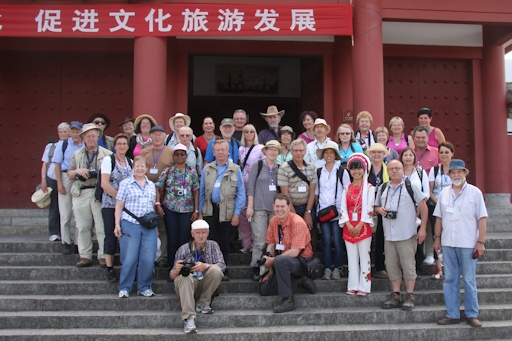 Group on steps of Three Pagodas entrance