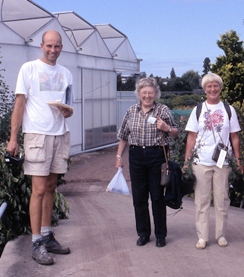 Edith Schmidt with Berit Ostby and Ruud van der Werf at his nursery, Boskoopp, Netherlands in 2003©Ken Woolfenden